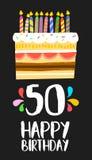 Gelukkige Verjaardagskaart 50 vijftig jaarcake stock illustratie