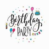 Gelukkige Verjaardagspartij het van letters voorzien typografie stock illustratie