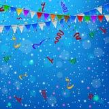 Gelukkige Verjaardagspartij met van driehoeksvlaggen en confettien achtergrond Stock Fotografie