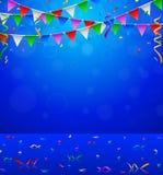Gelukkige Verjaardagspartij met van driehoeksvlaggen en confettien achtergrond Royalty-vrije Stock Afbeeldingen