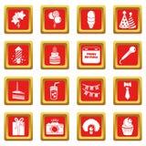 Gelukkige verjaardagspictogrammen geplaatst rode vierkante vector Royalty-vrije Stock Foto's