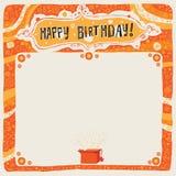 Gelukkige Verjaardagsprentbriefkaar, affiche, achtergrond, ornament of uitnodiging Stock Afbeeldingen