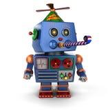 Gelukkige Verjaardagsstuk speelgoed robot Royalty-vrije Stock Foto