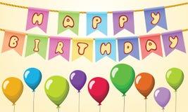 Gelukkige verjaardagstekst op kabel met ballons Royalty-vrije Stock Foto's