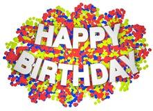 Gelukkige verjaardagswoorden stock illustratie