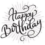 Gelukkige Verjaardagswoorden op witte achtergrond Hand getrokken Kalligrafie die Vectorillustratie EPS10 van letters voorzien vector illustratie