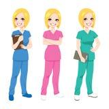 Gelukkige Verpleegster Posing royalty-vrije illustratie