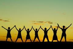 Gelukkige vierende vrouwen Stock Foto