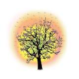 Gelukkige viering, grappige boom met vakantiesymbolen Stock Afbeeldingen