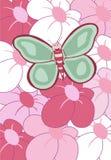 Gelukkige vlinder kleurrijke bloemen Stock Foto