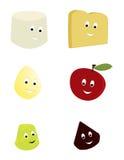 Gelukkige voedselkarakters Royalty-vrije Stock Afbeeldingen