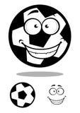 Gelukkige voetbal of voetbalbal met een malle glimlach Stock Afbeeldingen