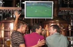 Gelukkige voetbalventilators. Drie gelukkige voetbalventilators die op een spel letten bij Th stock foto's
