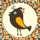 Gelukkige vogel met kleurrijke retro achtergrond Royalty-vrije Stock Afbeeldingen