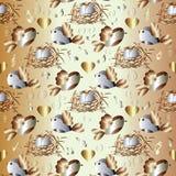 Gelukkige vogelsfamilie Naadloos liefdepatroon Royalty-vrije Stock Foto