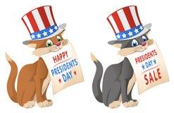 Gelukkige voorzittersdag De grappige kat binnen aan in de patriottische hoed kondigt Stock Foto