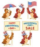 Gelukkige voorzittersdag Presidenten Day Sale Reeks van Beeldverhaalsparro Stock Afbeeldingen