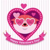 Gelukkige vos in roze zonnebril Royalty-vrije Stock Afbeelding