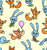 Gelukkige vossen en konijntjes op naadloze patroonachtergrond stock illustratie