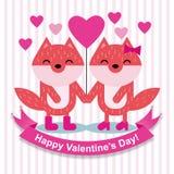 Gelukkige vossen in liefde Stock Fotografie