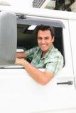 Gelukkige vrachtwagenchauffeur Royalty-vrije Stock Afbeelding