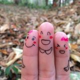 Gelukkige vrienden Stock Foto's