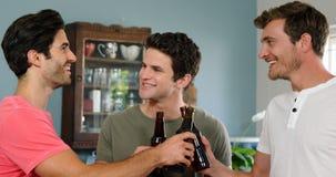 Gelukkige vrienden die bieren drinken stock footage