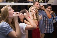 Gelukkige vrienden die een drank hebben samen Stock Foto