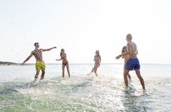 Gelukkige vrienden die pret op de zomerstrand hebben Stock Afbeelding