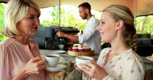 Gelukkige vrienden die van koffie samen 4k genieten stock video