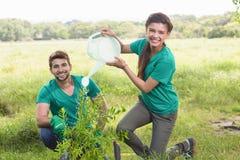 Gelukkige vrienden die voor de gemeenschap tuinieren Stock Afbeelding