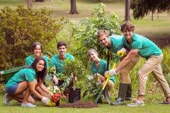 Gelukkige vrienden die voor de gemeenschap tuinieren Stock Afbeeldingen