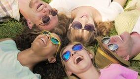 Gelukkige vrienden in zonnebril het liggen gras, spreken en lachen, die geheimen delen stock video