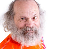 Gelukkige, Vriendschappelijke Baby Boomer die u met zijn t-Sh Bandkleurstof bekijken Stock Foto