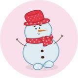 Gelukkige vriendschappelijke glimlachende sneeuwman Stock Foto