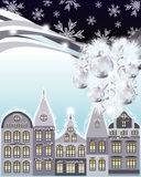Gelukkige Vrolijke Kerstmis en Nieuwjaarskaart, de winterstad Royalty-vrije Stock Afbeeldingen