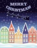 Gelukkige Vrolijke Kerstmisachtergrond met Santa Claus Stock Foto's