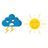 Gelukkige vrolijke zon en dreigende wolkvector Stock Foto