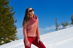 Gelukkige vrouw bij de winter stock foto