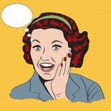 Gelukkige vrouw, commerciële retro clipartillustratie Royalty-vrije Stock Foto