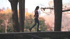 Gelukkige vrouw in de herfstpark Blije en opgewekte jonge vrouw die pret hebben die gele bladeren in het zonnige dalingspark werp stock videobeelden
