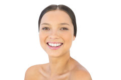 Gelukkige vrouw die bij camera glimlachen Royalty-vrije Stock Fotografie