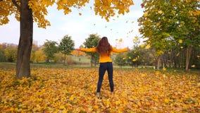 Gelukkige vrouw die en zich in dalende gele bladeren dansen omdraaien stock videobeelden