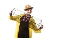 Gelukkige vrouw die lege visserij houden keepnet Stock Foto's