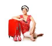 Gelukkige vrouw die op vakantie gaat stock foto's