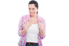 Gelukkige vrouw die zeven vingers tonen royalty-vrije stock afbeelding