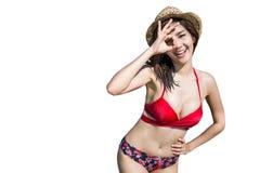 Gelukkige vrouw die zich op witte backgroung bevinden Stock Foto