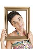 Gelukkige vrouw in het kader Stock Afbeelding