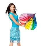Gelukkige vrouw het openen paraplu Stock Afbeeldingen