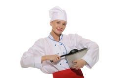 Gelukkige vrouw-kok met pan en lepel Royalty-vrije Stock Afbeeldingen